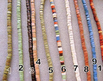 BEADS, CLAY, Pre-Columbian, Style, Heishi, New, Matte. 16 inch, Strand, Spacer, Tribal, Ethnic ,High QUALITY, I