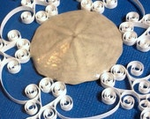 Quilled Sand Dollar Ornament: 'Popham' gift packaged quilled Popham Beach Maine sand dollar snowflake Christmas ornament beach decoration