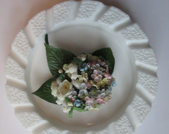 Vintage Imperial Floral Button Milk Glass Ashtray/Dish