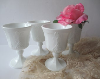 Vintage Colony Harvest Milk Glass Goblets Set of Four