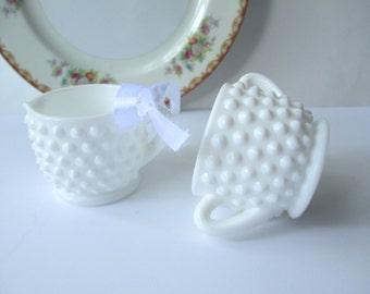 Vintage Fenton Milk Glass Hobnail Mini Cream and Sugar Set - Cottage Chic