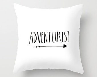 Adventure Arrows Decorative Pillow // throw pillow cover // cushion cover // accent pillow // typography // handlettered // home decor