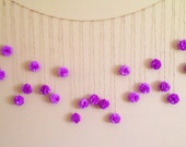 Wedding Garland Purple Orchid Tissue Paper Flower, Photography Prop, Orchid Birthday Party Decoration, Pom Poms Garland