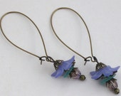 Oval Brass Hoop Earrings with Purple and Turquoise Lucite Flowers