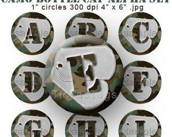 Camo Dog Tag Bottle Cap Images Digital Set 1 Inch Circle Alphabet Alpha Camouflage Green A-Z 4x6 - Instant Download - BC160