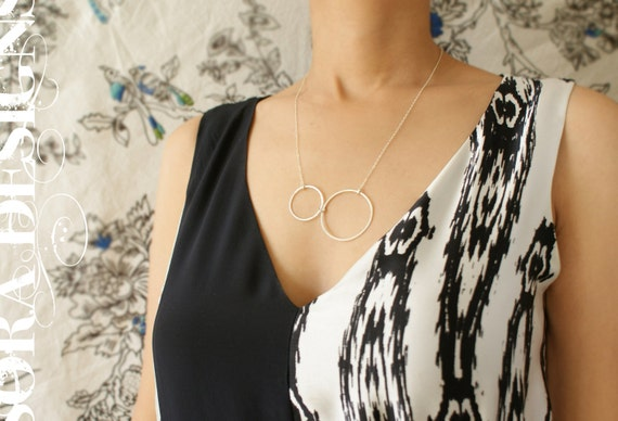 Infinity circle necklace, anniversary gift,  silver circle Minimal everyday necklace
