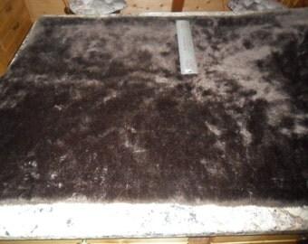 "VintageDark Brown Faux Fur Fabric - measuring 60"" long x 60"" wide"