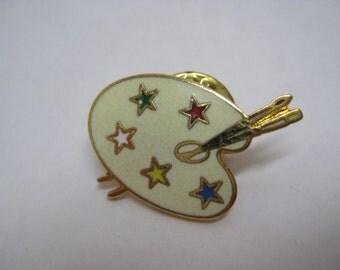 Artist Pallet Star Tie Tack Brooch Vintage Pin Enamel Gold