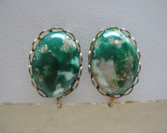 Green Gold Cab Earrings Clip White Vintage