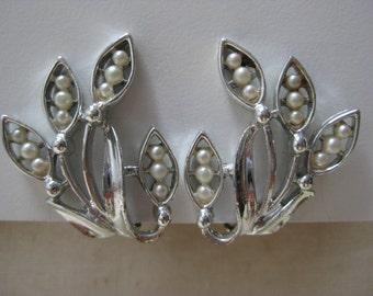 Pearl Leaf Silver Earrings Clip Vintage