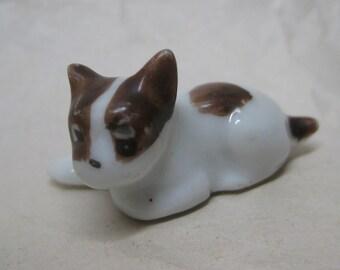 Puppy Figurine White Brown Miniature Ceramic Vintage Dog