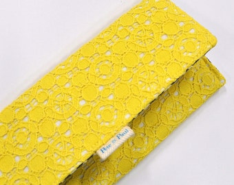 WOMEN'S WALLET / Yellow, lace, yellow eyelet wallet