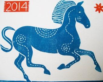 Year of The Horse, original linocut print