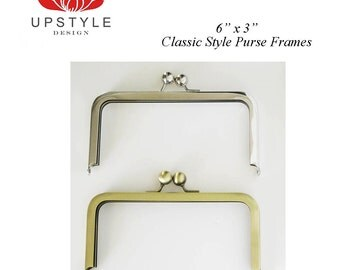 "6"" x 3"" Classic Style Metal Purse Frames - Set of 10 Nickel or Antique Brass - FREE Shipping to USA"