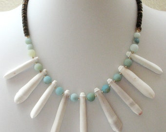 Sea Urchin Spine Necklace, Amazonite Necklace with Sterling Silver and Coconut Shell, Beach Resort Boho Tribal Necklace - Tropics