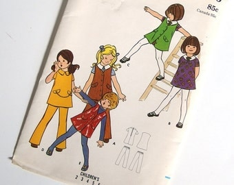 UNCUT Vintage Sewing Pattern for Girl's Dress, Jumper and Pants, 1970's Butterick 5976, Chest 21 Inches