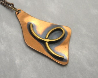 Vintage Copper Pendant Necklace Modernist Jewelry N5910