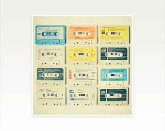 Music Art, Photography, Cassette Tape Art, Retro Wall Art, Gift for Man, Music Room Decor - All tomorrow's Parties