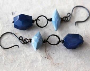 Chunky Blue Gemstone Earrings, Agate and Copper, Sky Blue and Indigo Blue, Boho, Blackened Hammered Copper Dangles,  Gift Box
