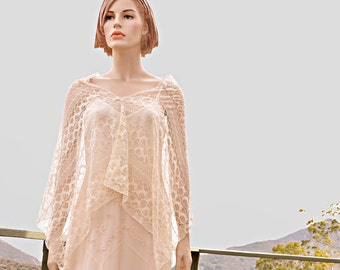 Cream Lace wedding poncho shawl wrap ivory off white art deco bridal