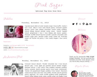 Premade Blogger Template - PINK SUGAR - Responsive Template - Graphic Design - Blog Template - Bonus Pinterest  Hovering Pin It Button