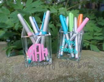 Personalized Acrylic Monogram Pen Cup Makeup Brush Holder