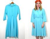 Long Turquoise Dress - Circle Skirt Dress - Long Sleeve Dress