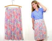 20 DOLLAR SUPER SALE! Pleated Maxi Skirt - Long Floral Skirt - Bohemian Long Skirt