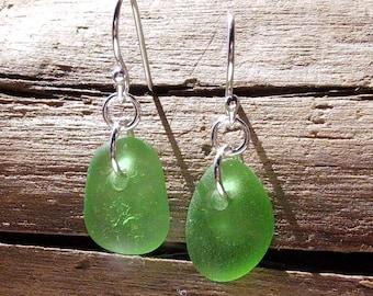 Genuine Green Sea Glass & Sterling Silver Earrings - 1013G