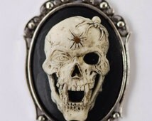 Vampire Skull with Spider Gothic Necklace - Skeleton Fangs Cameo 40x30mm - Free Domestic Shipping - 2 Setting Colors