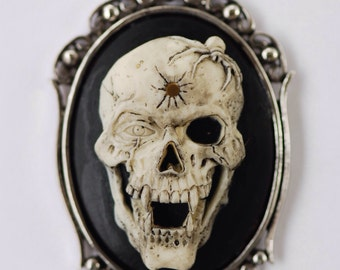 Vampire Skull with Spider Gothic Necklace - Skeleton Fangs Cameo 40x30mm - 2 Setting Colors - Insurance Included