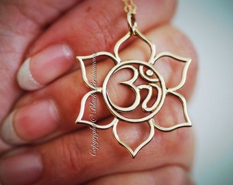 Lotus with Ohm Center Necklace - Large Natural Bronze Omkara Om Auspicious Feng Shui Symbol Pendant - Insurance Included