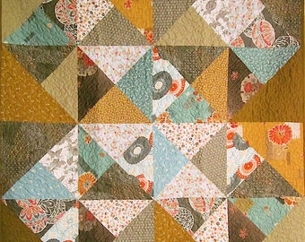 Patchwork Quilt - gray, gold and aqua Japanese Mod Blocks