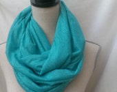 the INFINITY scarf in TEAL LACE knit