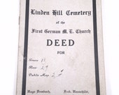 Antique 1917 cemetery deed of the First German M.E  Church grave 11 row 29 Linden Hill Cemetery