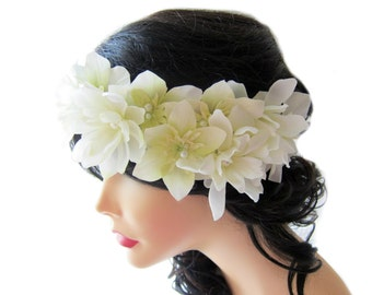 Wedding flower head piece, White flower crown, Floral hair circlet, Wedding head wreath