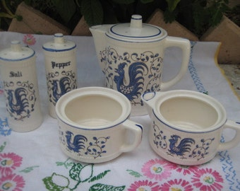 Vintage Blue and White Coffee or Tea Set and Salt and Pepper Shakers
