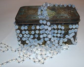 3ft of 8mm Czech Milky Opal Glass Rosary Chain with Antique Silver Links