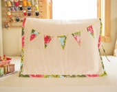 Sewing Machine Cover - Linen with Pink Twilight Peony Banner