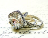 Alexandria Ring Trio - Vintage Style Sterling Silver Engagement Trio with  Swarovski Cushion Crystal and Tiara bezel