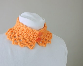 Handmade Crochet Orange Victorian Lace Neckwarmer Choker / Collar