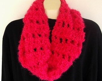 Hot Pink Sparkle Infinity Scarf Crochet Cowl Soft Winter Fashion Fluffy Pink