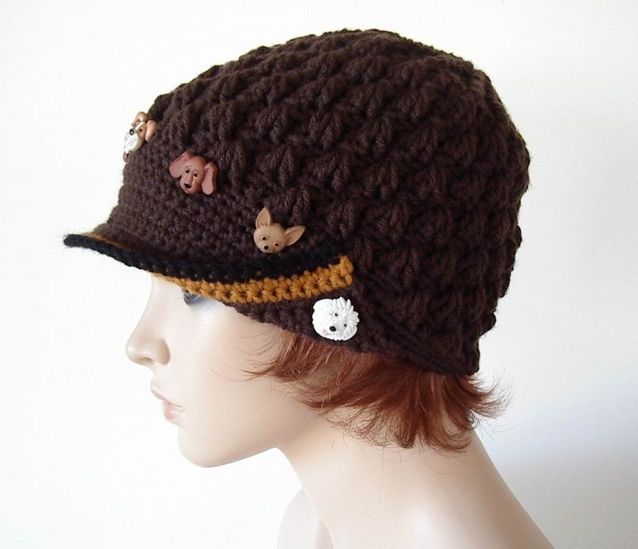 Crochet BrownTextured Newsboy Bill Cap Hat Dog Puppy Buttons