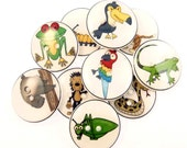 """10 Rain Forest Animal Buttons. 3/4"""" or 20 mm. Iguanna, Toucan, Katydid, Sloth, Boa Constrictor, Tree Frog and More."""