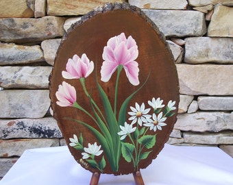 Hand Painted Wood Plaque with Pink Iris and White Daisies