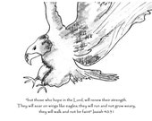 custom hand drawn notecards sketch cards ink drawing eagle Isaiah 40:13 scripture notecards