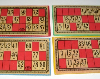 4 Antique  French Lotto Cards - Unusual Color - Red and White with Different Colored Borders and Backs