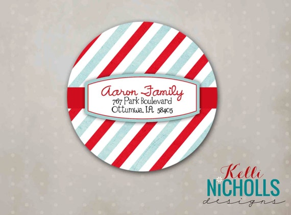 Modern Striped Personalized Christmas Address Label Stickers
