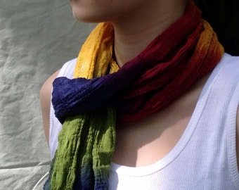 Hand Dyed Fringed Cotton Scarf in Autumn Rainbow