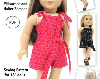 Pillowcase and Halter Romper AGD Size - Doll Clothes PDF Pattern for 18 inch Doll